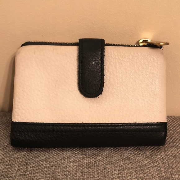 Fossil Handbags - Fossil Black and White Leather Bifold Wallet